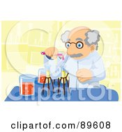 Royalty Free RF Clipart Illustration Of A Senior Scientist Mixing Chemicals by mayawizard101
