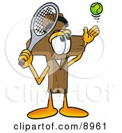 Clipart Picture Of A Wooden Cross Mascot Cartoon Character Preparing To Hit A Tennis Ball