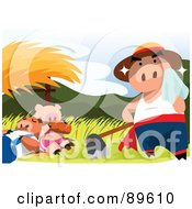 Royalty Free RF Clipart Illustration Of A Three Little Pigs Scene Of A Sweaty Pig By Napping Pigs by mayawizard101
