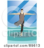 Royalty Free RF Clipart Illustration Of A Yoga Man Balancing On One Leg