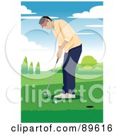 Royalty Free RF Clipart Illustration Of A Focused Male Golfer Aiming Near A Hole by mayawizard101