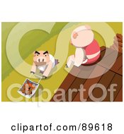 Royalty Free RF Clipart Illustration Of A Pig Sitting On A Roof Looking Down At Another Pushing Bricks In A Wheelbarrow by mayawizard101