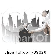 Poster, Art Print Of Business Woman And Man Shaking Hands Under Urban Skyscrapers
