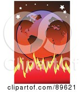 Royalty Free RF Clipart Illustration Of A Fire Blazing Under A Hot Earth Under The Stars by mayawizard101