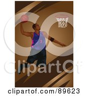 Black Male Basketball Player Jumping With A Ball In Hand