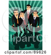 Royalty Free RF Clipart Illustration Of A Team Of Four Professional Businsess Men Looking Up Over A Green Burst