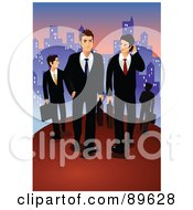 Royalty Free RF Clipart Illustration Of A Team Of Professional Business Men Walking Through A City At Dusk