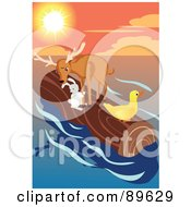 Deer Duck And Bunny Floating On A Log