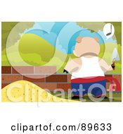 Royalty Free RF Clipart Illustration Of A Pig Building A House Of Bricks And Whistling
