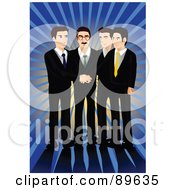Royalty Free RF Clipart Illustration Of A Team Of Four Professional Business Men With Piled Hands Over A Blue Burst