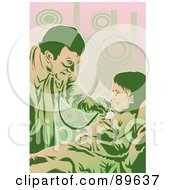 Royalty Free RF Clipart Illustration Of A Friendly Doctor Using A Stethoscope On A Little Girl by mayawizard101