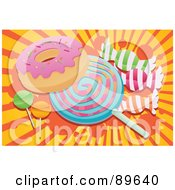 Royalty Free RF Clipart Illustration Of A Cluster Of Hard Candies Suckers And A Donut Over An Orange And Yellow Burst