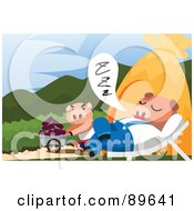 Royalty Free RF Clipart Illustration Of A Pig Pushing A Wheelbarrow Past A Napping Pig by mayawizard101