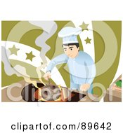 Royalty Free RF Clipart Illustration Of A Make Chef Cooking Mushrooms Over A Flame by mayawizard101