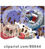 Royalty Free RF Clipart Illustration Of The Big Bad Wolf Blowing Down A House Of Sticks by mayawizard101