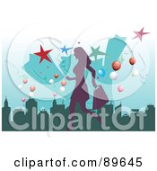 Purple Female Shopper Over A City With Stars And Balloons