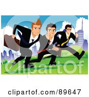 Royalty Free RF Clipart Illustration Of Determined Businessmen Racing Each Other In A City Park by mayawizard101
