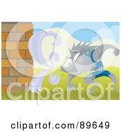Royalty Free RF Clipart Illustration Of The Big Bad Wolf Sweating And Trying To Blow Down A Brick House by mayawizard101
