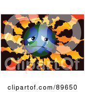 Royalty Free RF Clipart Illustration Of A Sad Globe Crying With Vehicles And Factories Polluting The Atmosphere With Smoke