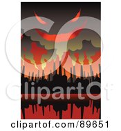 Royalty Free RF Clipart Illustration Of An Evil Cloud Of Smoke Above Factory Chimneys In A Red Sky by mayawizard101