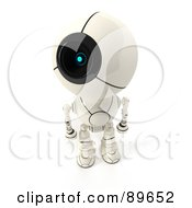 Royalty Free RF Clipart Illustration Of A 3d Shiro Maru Robot Looking Up To The Left by Leo Blanchette