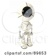 Royalty Free RF Clipart Illustration Of A 3d Shiro Maru Robot Standing And Facing Right
