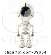 Royalty Free RF Clipart Illustration Of A 3d Shiro Maru Robot Standing And Facing Front by Leo Blanchette