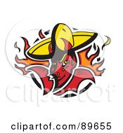Royalty Free RF Clipart Illustration Of A Fiery Devil Wearing A Yellow Hat