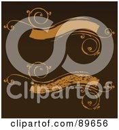 Royalty Free RF Clipart Illustration Of A Digital Collage Of Orange Vine Banner Text Boxes Over Brown