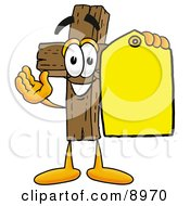 Wooden Cross Mascot Cartoon Character Holding A Yellow Sales Price Tag