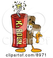Wooden Cross Mascot Cartoon Character Standing With A Lit Stick Of Dynamite