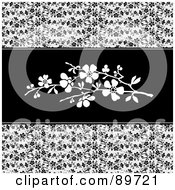 Royalty Free RF Clipart Illustration Of A Background Of Black Vines And White Blossoms In The Center by BestVector