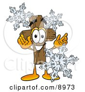Clipart Picture Of A Wooden Cross Mascot Cartoon Character With Three Snowflakes In Winter
