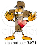 Clipart Picture Of A Wooden Cross Mascot Cartoon Character With His Heart Beating Out Of His Chest