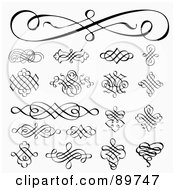 Royalty Free RF Clipart Illustration Of A Digital Collage Of Elegant Swirl Design Elements Over Shaded White by BestVector #COLLC89747-0144