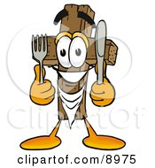 Wooden Cross Mascot Cartoon Character Holding A Knife And Fork