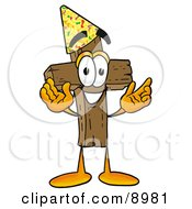 Clipart Picture Of A Wooden Cross Mascot Cartoon Character Wearing A Birthday Party Hat by Toons4Biz