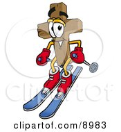 Clipart Picture Of A Wooden Cross Mascot Cartoon Character Skiing Downhill