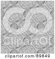 Royalty Free RF Clipart Illustration Of A Seamless Gray Globe Pattern Background by BestVector