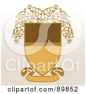 Royalty Free RF Clipart Illustration Of A Brown And Beige Shield With A Blank Banner And Vines Over Beige