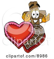 Clipart Picture Of A Wooden Cross Mascot Cartoon Character With An Open Box Of Valentines Day Chocolate Candies