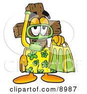 Wooden Cross Mascot Cartoon Character In Green And Yellow Snorkel Gear