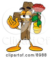 Clipart Picture Of A Wooden Cross Mascot Cartoon Character Holding A Red Rose On Valentines Day