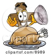 Clipart Picture Of A Wooden Cross Mascot Cartoon Character Serving A Thanksgiving Turkey On A Platter