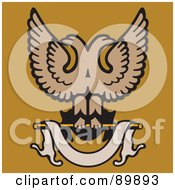 Royalty Free RF Clipart Illustration Of A Eagles And A Banner Over Orange