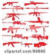 Royalty Free RF Clipart Illustration Of A Digital Collage Of Red Silhouetted Rifles by BestVector