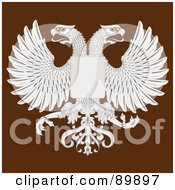 Royalty Free RF Clipart Illustration Of Eagles And A Shield Over Brown by BestVector