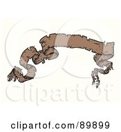 Royalty Free RF Clipart Illustration Of A Distressed And Ripped Brown Ribbon Banner