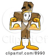 Clipart Picture Of A Wooden Cross Mascot Cartoon Character Flexing His Arm Muscles