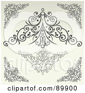 Royalty Free RF Clipart Illustration Of A Digital Collage Of Swirly Designs Over Beige Version 2